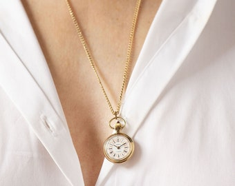 Rare watch necklace Dawn round, tiny round necklace watch gold plated, lady watch pendant Roman numerals dial delicate women's pendant watch