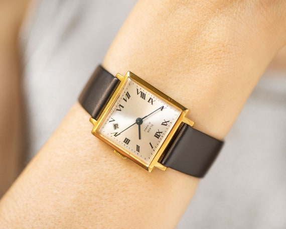 Square unisex watch vintage, gold plated watch Glo