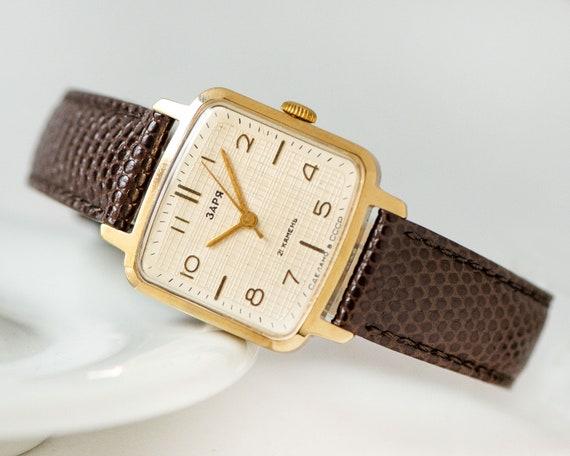 Unused women's watch square minimalist Dawn, gold
