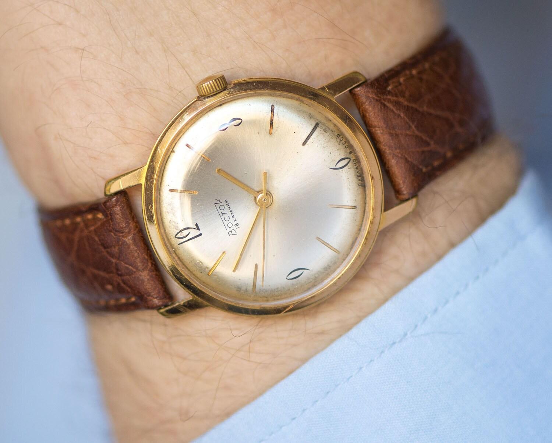Classic men's watch Montine, gold plated Swiss watch, gent's mechanical watch, shockproof men watch, premium leather strap new
