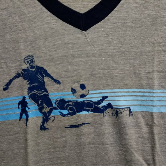 Vintage 70s Gray V-Neck Soccer Shirt