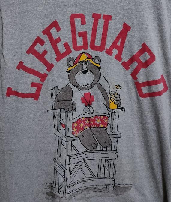 Vintage 80s Lifeguard Bear Gray T-Shirt