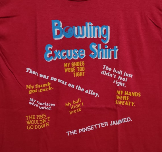 Vintage 80s Bowling Excuse Red Muscle T-Shirt Funn