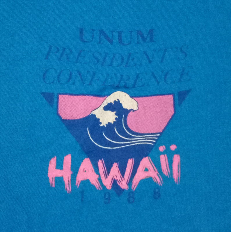 1988 Vintage HAWAII's Life is A Beach UNUM Union Mutual Insurance Group  President's Conference Blue T-shirt