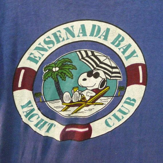 Vintage 70s Ensenada Bay Yacht Club Snoopy Beach P
