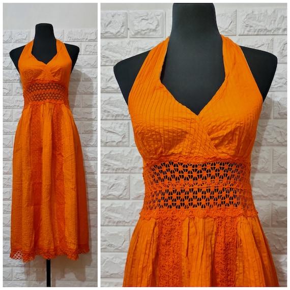 Vintage Crochet Dress, 70's Vintage Orange Halter