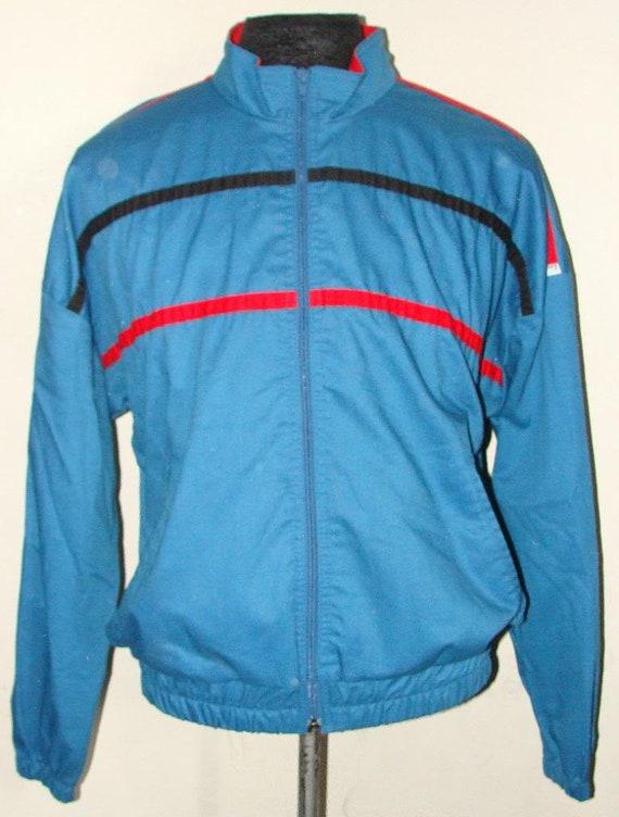 Vintage 80s LEVIS Blue Green RETRO Track JACKET - image 1