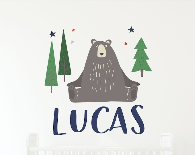 Woodland, Nursery Name Sign, Bear Decal, Tree Wall Decal, Pine Tree Decal, Custom Name, Vinyl Lettering, Kids Room Decor, Personalized Baby