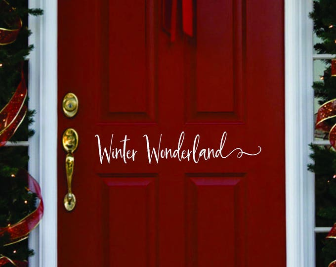 Winter door decor //  Winter Wonderland Decorations  // Merry Christmas  Decal  // Winter Door Decal  // Farmhouse Christmas