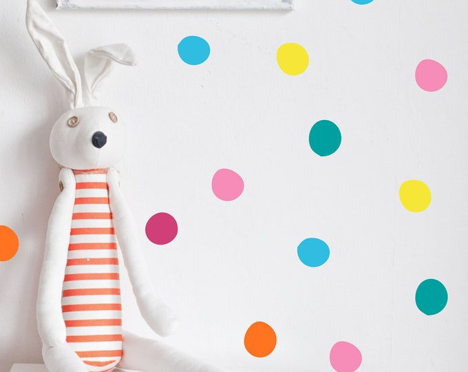 Bright Colored Dot Wall Decals // Peel and Stick Dots // Nursery Wall Decals // Polka Dot Stickers // Playroom Art // Bedroom Wall Stickers