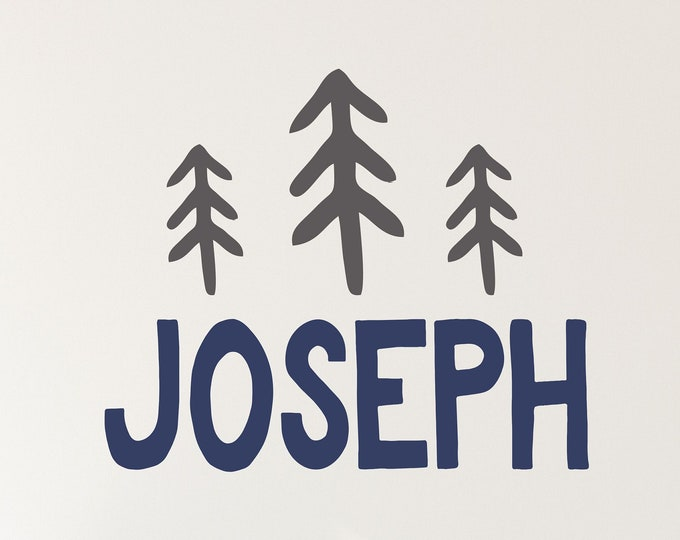 Pine Tree Decal, Name Wall Decals, Nursery Name Sign, Woodland Nursery, Wall Decal Boys Room, Kids Room Decal, Personalized, Tree Wall Decal