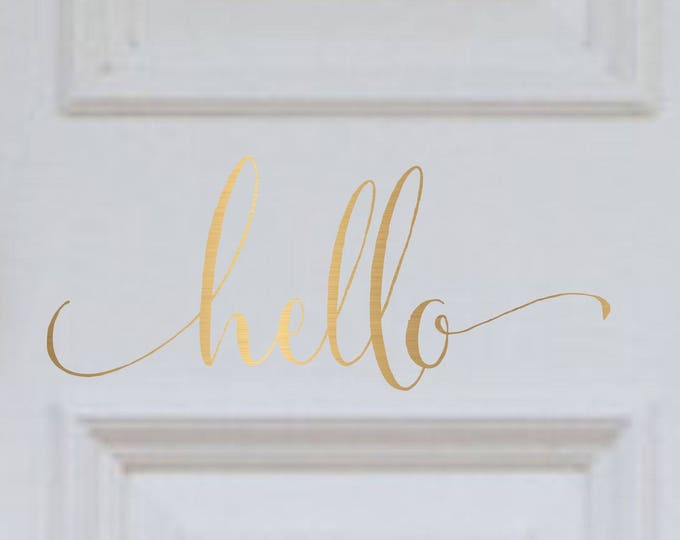 Hello  Door Decals// Farmhouse Decal // Hello Decal for Front Door // Front Door Decals // Farmhouse Decor // Free Ship