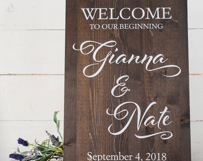 Wedding Welcome Sign // Welcome Wedding Sign // Rustic Wood Wedding Sign // Personalized Wedding Decorations // Custom Wedding Sign
