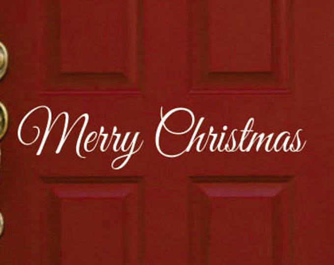 Merry Christmas Door Decal // Christmas Decal // Christmas Decor // Door Decal // Wall Decal // LucyLews