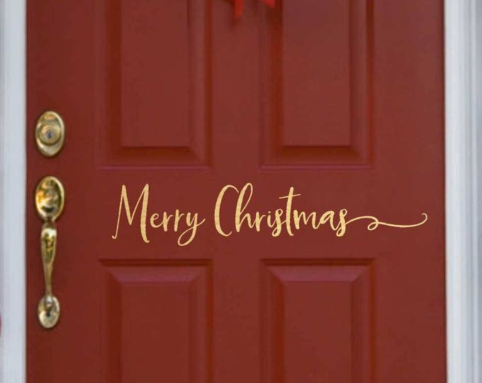Christmas Door Decal   // Christmas Door Decoration //  Merry Christmas  Decal  // Merry Christmas Door Decal  // Farmhouse Christmas
