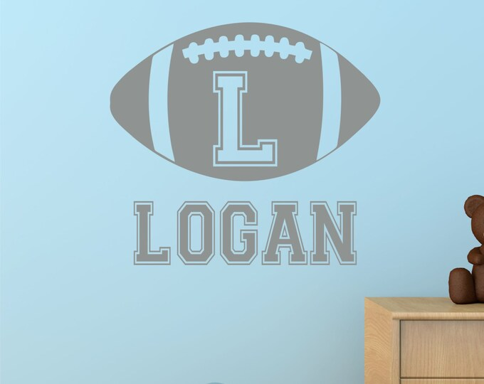 Football, Custom Name Decal, Name Wall Decals, Sports Wall Decal, Wall Decal Boys Room, Kids Room Decor, Baby Boy, Nursery Name Sign, Vinyl