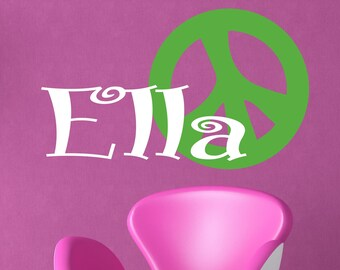Wall Decal Retro Peace sign Vinyl Wall Lettering - Teen Room Decor
