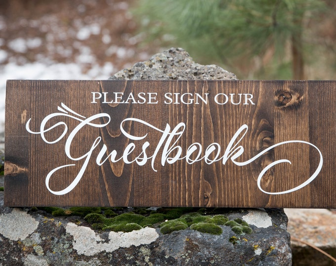 Guest Book Sign // Wooden Wedding Sign - Sign Our Guestbook // Please Sign Guestbook // Wedding Sign