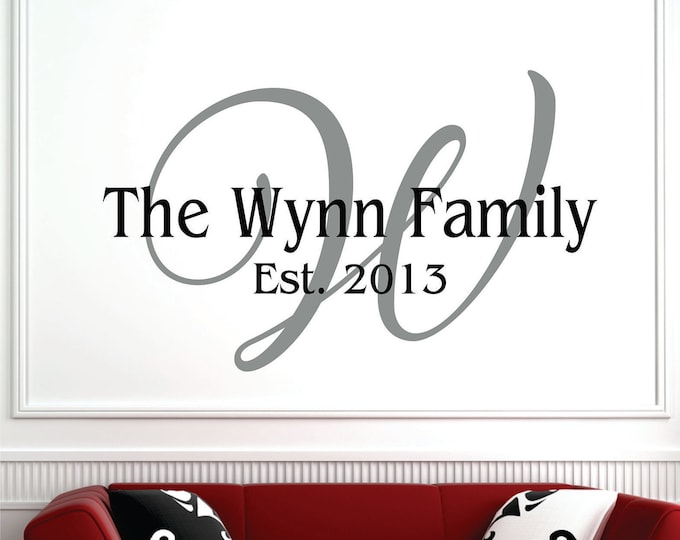 Wall Decal - Name Wall Decal - Personalized Wall Decal - Family Name Wall Decal - Wedding Decor - Wedding Gift