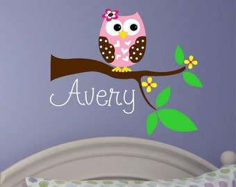 Name Wall Decal, Owl Wall Art, Vinyl Stickers, Nursery Name Sign, Girls Name Decal, Wall Decals Nursery, Custom Name Decal, Kids Room Decor