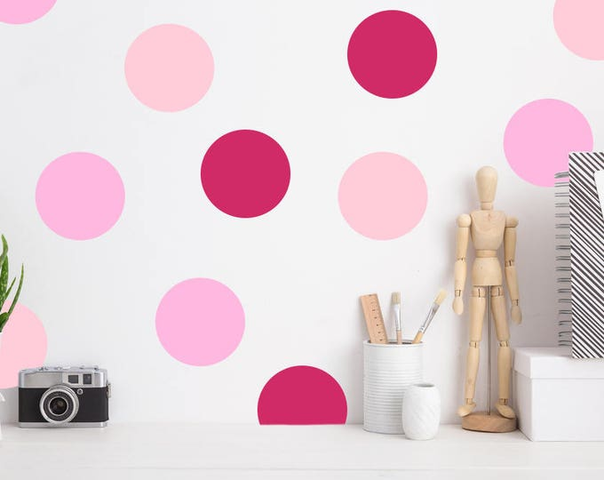 Pink Polka Dot Decal // Polka Dot Decal // Peel and Stick Decal // Nursery Decor // Polka Dots Wall Decals // Nursery Wall Decal