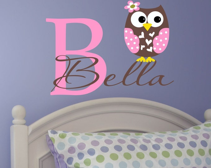 Owl Wall Decal, Vinyl Monogram Decal, Wall Decals, Vinyl Stickers, Custom Name Decal, Girls Name Decal, Bedroom Wall Art, Wall Decal Kids