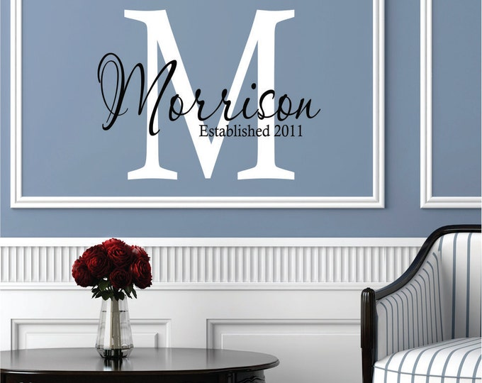Wall Decals Personalized Family Name // Custom Name Wall Decal // Monogram Decal // Family Name Decal // Wedding Decal