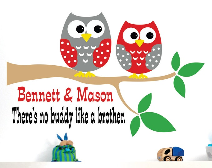 Childrens Decor  Name Wall Decal - Brother Owls Wall Decals - Childrens Decor Owl Vinyl Wall lettering Personalized.