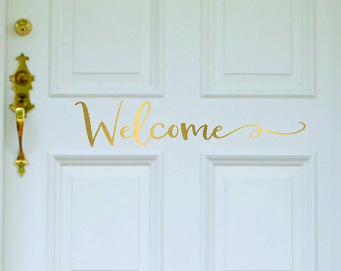 Farmhouse Welcome Door Decal // Welcome  Decal // Welcome Decal for Front Door // Front Door Decals // Farmhouse Decor