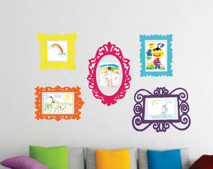 Wall Decal Set of 5 Frames - Playroom Decor - Bedroom Wall Decal - Childrens Wall Decals Playroom Vinyl Wall Decals