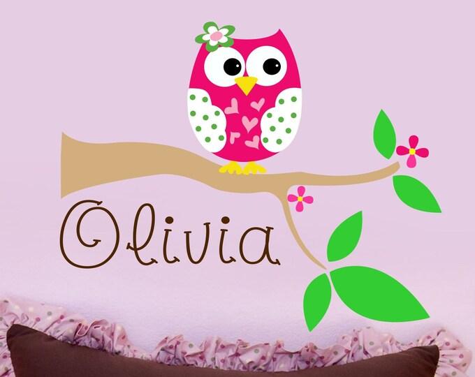 Owl Art, Nursery Wall Art, Vinyl Stickers, Wall Decals, Baby Girl, Girls Name Decal, Custom Name Decal, Bedroom Decor, Play Room Wall Decor