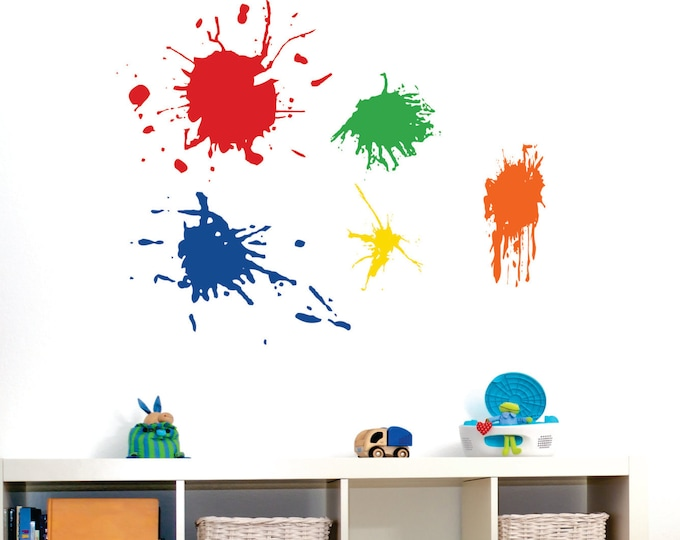 Playroom Wall Decal // 5 Paint Splotches // Playroom Vinyl Wall Art // Childrens Wall Decal // Craft Room Decor