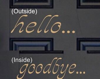 Hello Door Decal - Small Decal - Hello Vinyl Lettering - Front Door Decal -