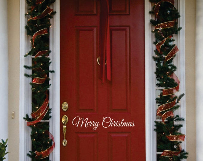 Christmas Door Decoration //  Merry Christmas Door Decal  // Christmas Decoration // Christmas Decal // Front Door Christmas Decal