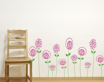 Childrens wall decals - Flower Decals -  Doodle Flowers - Kids Decor - children's Wall art -