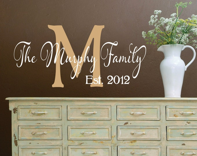 Custom Family Name Wall Decal // Customized Monogram Decal // Family Name Decal // Established Date Decal // Family Sign // Wedding Decal
