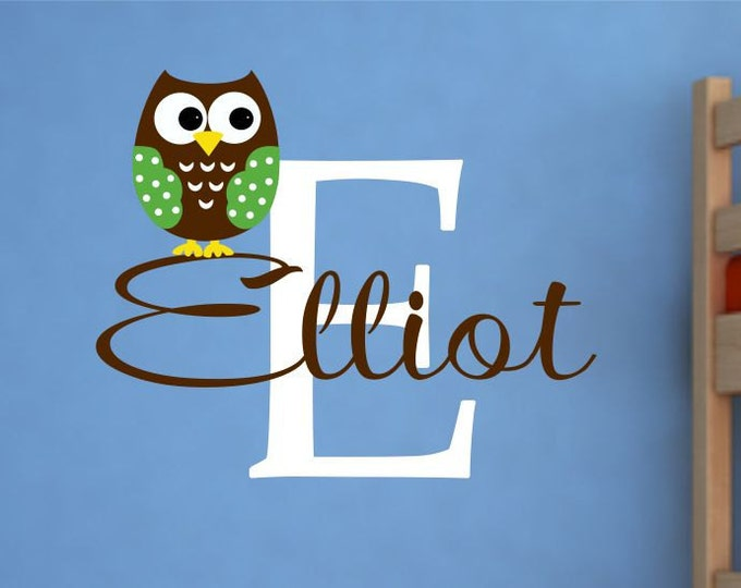 Owl Stickers, Owl Wall Decal, Custom Name Decal, Name Wall Decals, Monogram Wall Decal, Nursery Name Sign, Baby Boy, Vinyl Sticker, Lucylews