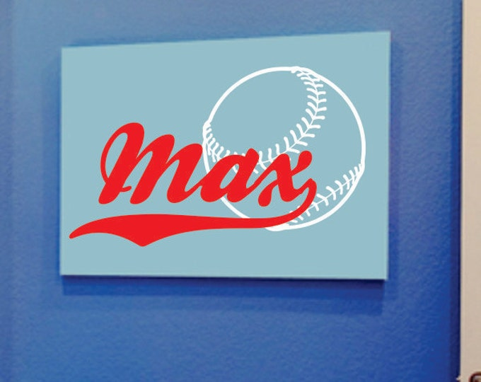 Baseball Decal, Name Wall Decals, Vinyl Name Decal, Vinyl Lettering, Wall Decal Boys Room, Kids Room Decor, Bedroom Wall Art, Personalized