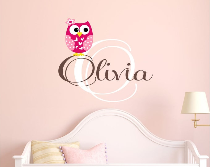Owl Wall Art, Nursery Name Sign, Wall Decal, Vinyl Decals, Custom, Baby Girl, Nursery Wall Art, Baby Name Sign, Girl Name Decal, Kids Room
