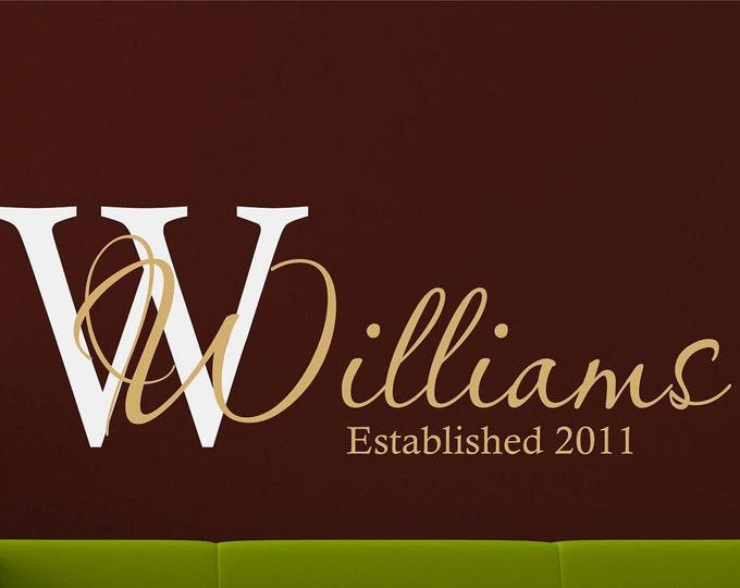 Personalized Name Wall Decal - Name Wall Decal - Custom Monogram  -  Wedding Decor - Wedding Gift - Last Name