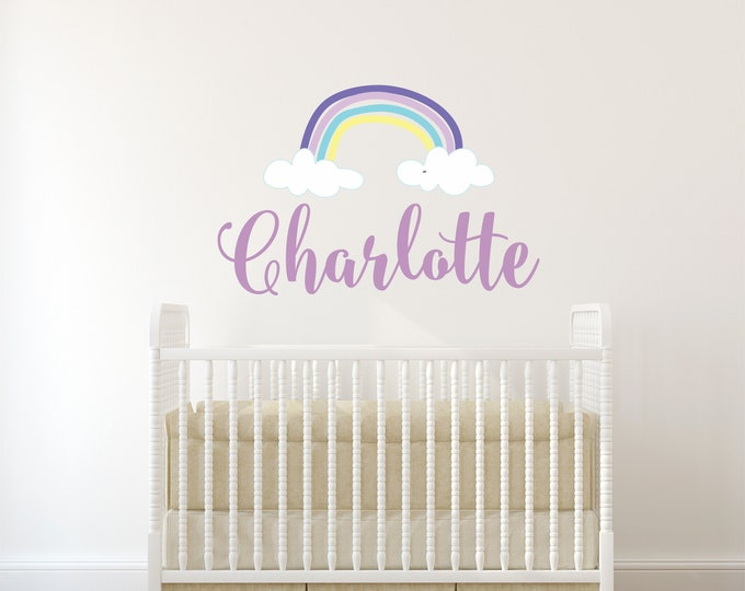 Rainbow Girls Name Wall Decal, Removable Wall Decal, Vinyl Decals, Nursery Name Sign, Baby Girl Name Signs, Nursery Wall Art, Free Shipping,