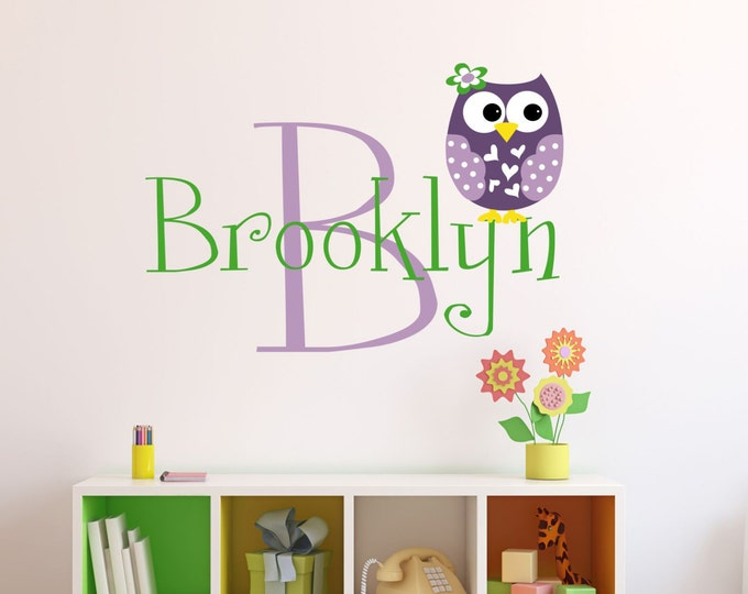 Playroom Wall Decor, Owl Wall Art, Monogram Wall Decal, Wall Decals, Vinyl Stickers, Kids Room Sign, Custom Name Decal, Preteen Teen Girls