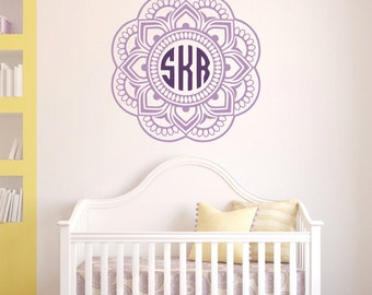 Mandala Monogram Wall Decal // Nursery Wall Decals // Mandala Wall Decals // Custom Monogram // Wall Decor // Monogram Sticker