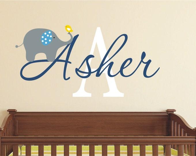Custom Boys Name With Elephant Decal / /Custom Name Wall Decal // Baby Nursery Decal // Baby Boy Name Decal // Elephant Decor