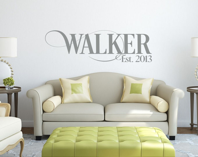 Family Name Decals for Walls  // Personalized Family Name Sign // Name Wall Decal // Established Date / /Last Name Decal //
