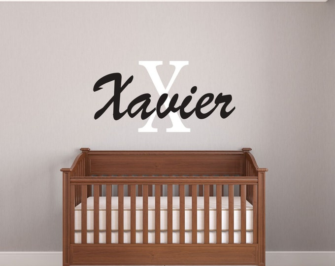 Kids Room Decal, Boy Name Wall Decal, Name Wall Decals, Monogram Wall Art, Nursery Name Sign, Custom Vinyl Decal, Baby Boy, Wall Stickers
