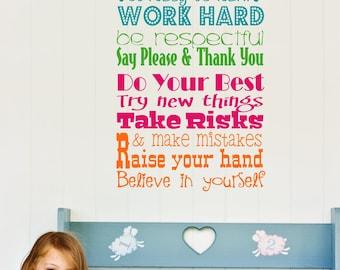 Teacher Classroom Rules Decal //  Teacher Wall Decal // Playroom Rules // Custom Teacher Gift // Classroom Poster // Teacher Art