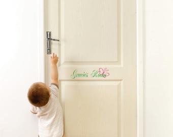 Kids Door Vinyl Sign, Nursery Name Sign, Butterfly Wall Art, Baby Girl, Vinyl Stickers, Custom Name, Vinyl Name Decal, Bedroom Door Decal