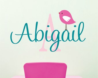 Wall Decals Nursery, Bird Wall Decal, Girl Name Decal, Baby Girl Name Signs, Custom Name Decal, Name Sign, Vinyl Decals, Bedroom Wall Art
