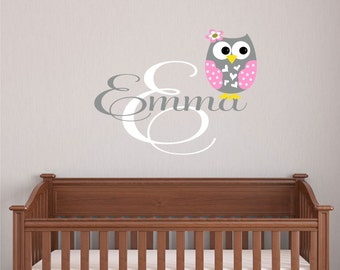 Nursery Wall Decal, Wall Decals Nursery, Nursery Name Sign, Owl, Girls Name Decal, Vinyl Decal, Bedroom Wall Art, Personalized Baby, Decor
